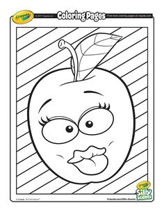 Silly Scents Apple coloring page Snow White Coloring Pages, Apple Coloring Pages, Crayola Coloring Pages, Preschool Coloring Pages, Printable Coloring Pages, Coloring For Kids, Coloring Pages For Kids, Adult Coloring, Coloring Books