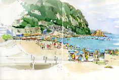 Urban Sketchers: After Barcelona: Girona and the Costa Brava Watercolor Art, Sketch Book, Sketchbook Art Journal, Urban Sketchers, Large Painting, Sketchers, Art, Art Sketches, Travel Sketches