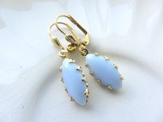 Opaque Chalk Blue Navette Gold Earrings   by RachellesJewelryBox