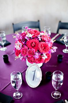pink and purple centerpieces