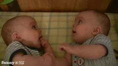 Baby Thinks Identitical Twin Sibling is Funny-Looking! #funny #baby