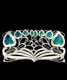 Buckle, The Planta (Model 188) designed 1899, made 1906/07 - silver, enamel. Archibald Knox, designer (British , 1864 - 1933)