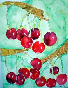 ARTFINDER: Piccolo cherries by Jyoti Kumar - I absolutely love Piccolo cherries.The brilliant deep colour, the bursting-with-life shine and slightly sweet and slightly sour scent.  I can paint them en...