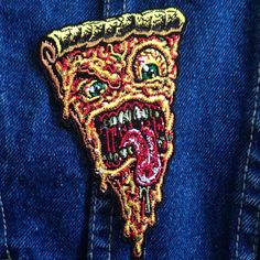 Jimbo Phillips PIZZA FACE iron on ready embroidered color patch #Patch #JimboPhillips #Pizza