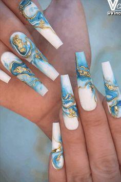 Marble Acrylic Nails, Long Acrylic Nails, Turquoise Acrylic Nails, Acrylic Nails Stiletto, Colored Acrylic Nails, Water Marble Nails, Hot Nails, Swag Nails, Marble Nail Designs