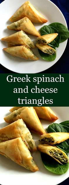 Greek spinach and cheese triangles, or Spanakopita, a popular recipe all over the world. Delicious, easy to make, they form the perfect snack or starter.