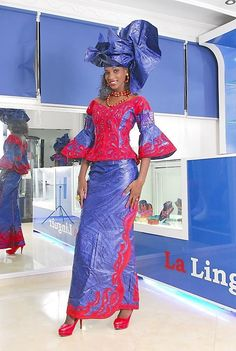Royal blue bazin riche with red embroidery by NewAfricanDesigns African Wedding Attire, African Attire, African Wear, African Women, African Dress, African Fashion Skirts, African Prom Dresses, Ethnic Fashion, Pink