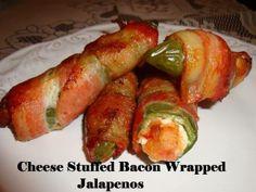 Cheese stuffed bacon jalaponos