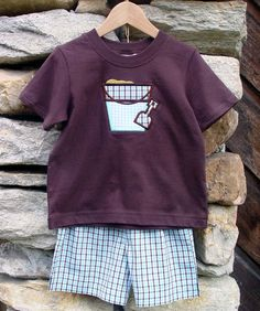 Today's boys shirt and t-shirt set features our brown 100% cotton t-shirt with a sand bucket appliqué. Shorts are made of aqua brown tattersall fabric. $28. On sale now at http://www.facebook.com/jdoriginals
