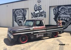 This '65 Chevy C10 truck from Gas Monkey Garage is the official pace truck of the 2014 Pikes Peak International Hill Climb. This fuel injected 572ci monster features RideTech coilovers, Wilwood Disc Brakes, and center locking Forgeline ZX3P wheels finished with Satin Black centers and Super Wet Red outers. See more at: http://www.forgeline.com/customer_gallery_view.php?cvk=1124  #Forgeline #ZX3P #centerlock #notjustanotherprettywheel #madeinUSA #Chevy #C10