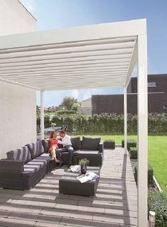 angebaute pergola selbsttragend aluminium orientierbaren lamellen algarve renson. Black Bedroom Furniture Sets. Home Design Ideas