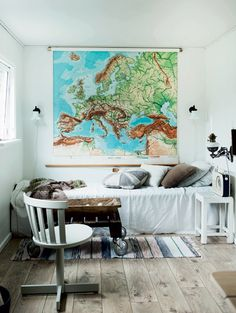 Bedroom with map of Europe