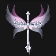 Silver Jewled Cross with pink & white wings Cross Wallpaper, Heart Wallpaper, Cellphone Wallpaper, Wallpaper Backgrounds, Iphone Wallpaper, Cross With Wings, Cross Pictures, Cross Tattoo Designs, Cross Art