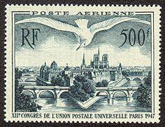 Vue de Paris XIIème congrès de l´Union Postale Universelle Paris 1947 - Timbre de 1947