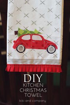 DIY kitchen Christmas towel...free template and printable at kiki and company xox