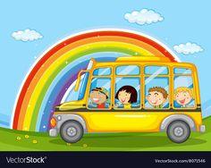 Boys and girls riding in school bus vector image on VectorStock Kids Vector, Vector Free, Bus Drawing, Adobe Illustrator, Boys, Girls, Boy Or Girl, Printable, Clip Art
