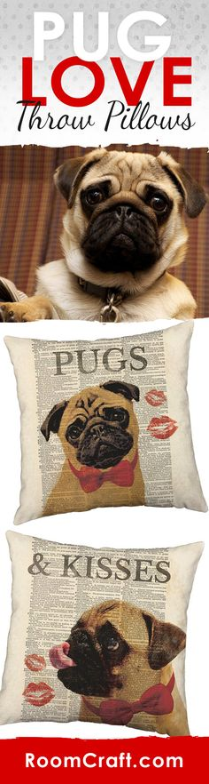 How can you resist that face? These rediculously adorable pug throw pillows will add some joy to your home and remind you everyday how much you love your precious puppy. The design is offered in multiple fabrics, sizes, and colors making it the perfect addition to any room in your home, office or library. Our quality pet pillow covers are made to order in the USA and feature 3 wooden buttons on the back for closure. Choose your favorite and create a truly unique pillow set. #roomcraft
