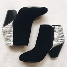 Dolce vita ankle boots Two tone zip boots. Suede front with a thick heel. Approximately 3.5 inches tall. Excellent condition. Worn once Dolce Vita Shoes Ankle Boots & Booties