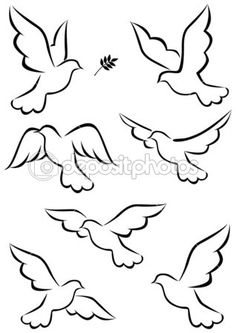 Illustration about Illustration of simple dove symbol. Illustration of leaf, card, animal - 21762505 Bird Drawings, Easy Drawings, Pencil Drawings, Dove Drawing, Peace Drawing, Drawing Art, Diy And Crafts, Paper Crafts, String Art