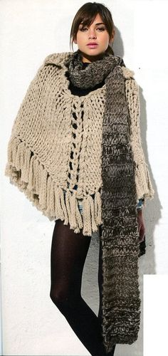 Super Bulky Poncho and Scarf  English Knitting Pattern PDF, $5.90