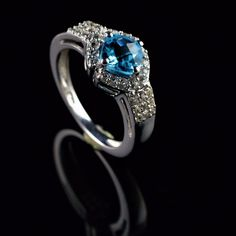 925 STERLING SILVER NATURAL BLUE TOPAZ & ZIRCON CUT GEMSTONE RING SIZE 7.25 R391 #Unbranded