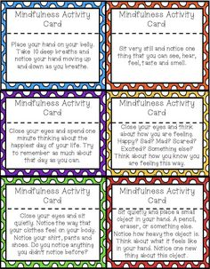 42 Mindfulness Activity Cards to help students re-focus and re-center. Cards include deep breathing, guided imagery and mindful movement.