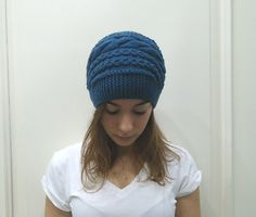 Hand Knitted BLUE CABLED Beanie HATwomenteenagefall by MARYsworks, $36.00
