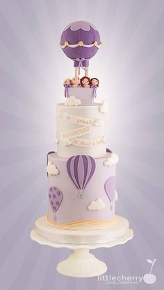 Hot Air Balloon Cake - cake by Little Cherry Beautiful Cakes, Amazing Cakes, Hot Air Balloon Cake, Cupcake Cakes, Cupcakes, Girly Cakes, Baby Birthday Cakes, Cherry Cake, Cake Images