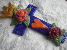 Violet Blue hand made flour clay cross. Religious by BlueOpera, $30.00