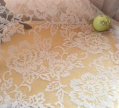 """3m new green quality BRIDAL SCALLOPED LACE EMBRIOUDED SEQUIN FABRIC 58/"""" WIDE"""