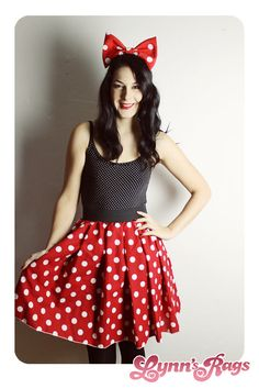 This is an amazing Minnie Mouse skirt I made from red polka dot fabric The waistband is made of black elastic. Seam down the center back. Not lined underneath. So cute & unique! Please specify size in the message section of the order XSMALL: 0 Waist: 24-25  SMALL: 1-3 Waist: 26-27  MEDIUM: 5-7 Waist: 28-29  LARGE: 9-11 Waist: 30-31.5  XLARGE: 13-15 Waist: 33-34.5  XXLARGE: 17 Waist: 36  For larger sizes please send me your waist measurements in inches.  ****For skirts larger than an XXL I...
