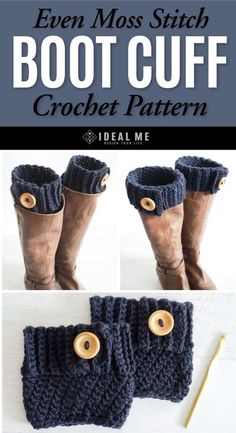 Even Moss Stitch Boot Cuff Crochet Pattern - Who doesn't love boot cuffs! Not only are they trendy and warm, but they add a custom touch to any pair of boots. kostenlose Stiefelmanschetten Even Moss Stitch Boot Cuff Crochet Pattern - Ideal Me Guêtres Au Crochet, Crochet Boots, Crochet Motifs, Knit Boots, Crochet Gloves, Crochet Stitches Patterns, Crochet Slippers, Easy Crochet, Knitting Patterns