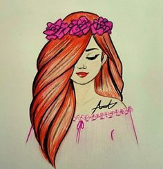 Bild über We Heart It #art #cute #draw #drawing #eyes #flower #hair #a.m.y