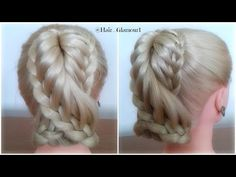 Double Lace Braid Pony Tail Hairstyle / Hair Tutorial / HairGlamour - YouTube