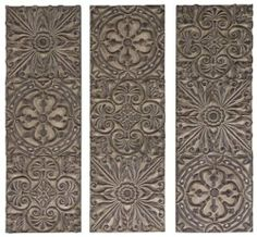 """Dyaman Plaques Set Of 3, 36HX12W, OLIVE by Home Decorators Collection. $229.00. Each: 36""""H x 12""""W.. A tan finish, beautifully intricate carved detailing and a three-piece design combine to make our wall decor beautiful. Each of the three pieces look exceptional together but also work just as well separately. Available in tan finish. Easily hang on your wall. Actual size is 36HX12W"""
