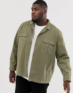 ASOS DESIGN Plus overshirt in khaki with double pockets at ASOS. Style Inspiration, Style Ideas, Military Jacket, Latest Trends, Asos, Dressing, Stuff To Buy, Men, Pockets