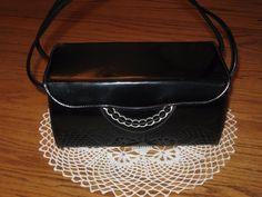 Vintage 50s 60s Black Faux Patent Leather Box Purse Handbag Evening Bag #Unbranded #Box