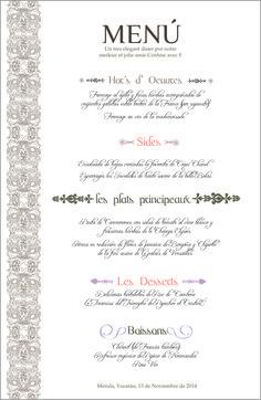 Menu cena  Paris de despedida de soltera