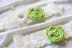 2 PC Ivory and APPLE GREEN  Wedding Garter Bridal by Samistreasure, $17.99