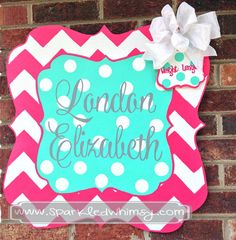 Personalized Chevron & Polkadot Baby Children  Housewares  Room Decor  door  personalize  door decoration  hospital  baby shower  TeamEtsyBABY  Birthday nursery decoration  monogram  shower decoration  children wall art  Sparkled Whimsy  baby announcement