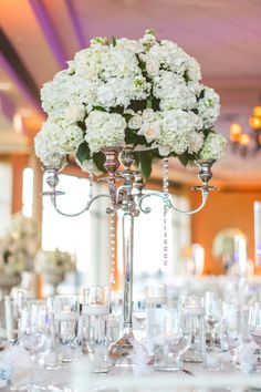 Chic White Wedding, Tall Floral Centerpiece| Bella Collina | Concept Photography | Vangie's Events of Distinction