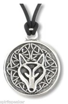 """Wolf Necklace Beautiful - with the wisdom of the wolf inscribed on the back side of this necklace  FREE SHIPPING AND WE TRY TO SHIP WITHIN 1 DAY  Celtic images with powerful messages of Celtic wisdom inscribed on the back. Includes 19? cord with lobster claw clasp. Size 1¼"""" diameter. Lead free pewter ? Made in USA. Stylish for men and women.  The power within me is greater than any fear before me"""