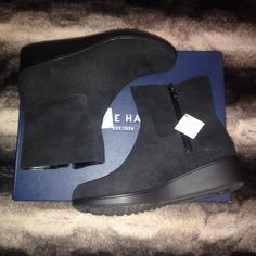 8c23058e00a Cole Haan Shoes - Cole Haan Short Black (WATERPROOF) Suede Boots NWT