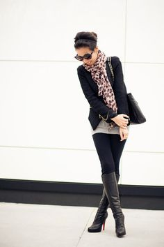 Black leather boots with skinnies, Chanel bag, black short blazer, grey sweater, leopard scarf...