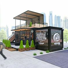Design of container cafe MENTION Design and renders: . Container Home Designs, Café Container, Container Coffee Shop, Kiosk Design, Cafe Shop Design, House Design, Design Design, Coffee Shop Counter, Coffee Shop Bar