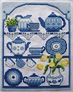 Blue China Cross Stitch by sallysetsforth, via Flickr