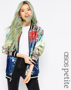 ASOS+PETITE+Bomber+Jacket+with+Ombre+Print+Detail