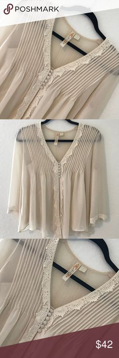 Chiffon crochet top Condition: EUC, No flaws Smoke free home No trades, No returns No modeling  Shipping next day I LOVE OFFERS, offer me! BUNDLE and save more All transactions video recorded to ensure quality.  Ask all questions before buying Altar'd State Tops Tees - Long Sleeve