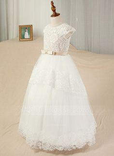 [US$ 75.59] Ball Gown Floor-length Flower Girl Dress - Satin/Tulle/Lace Sleeveless Scoop Neck With Sash/Appliques