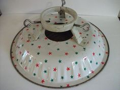 Vintage Christmas Tree Stand ~ Metal Red & Green Stars